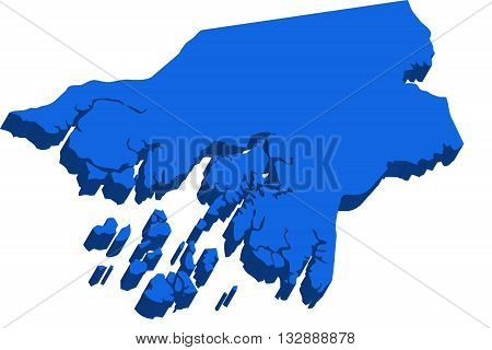 A map of Guinea-Bissau 3D on white background