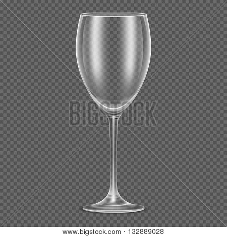 Transparent vector realistic empty wine glass. for alcohol drink, transparent glass cocktail and restaurant goblet glass clear illustration