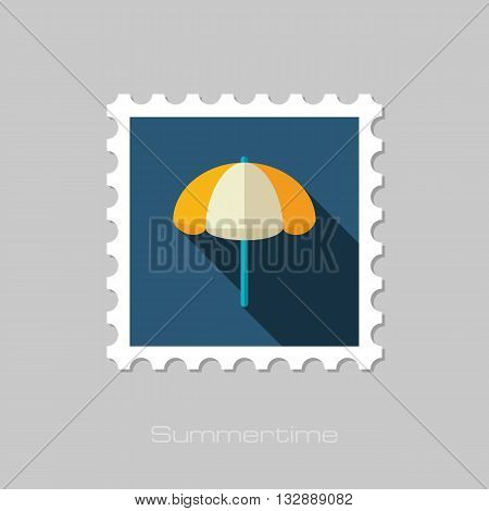 Beach parasol vector flat stamp with long shadow. Summer. Summertime. Vacation eps 10