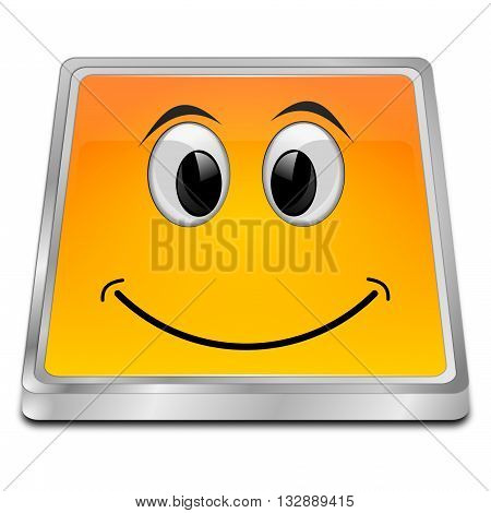 orange Button with smiling face - 3d illustration