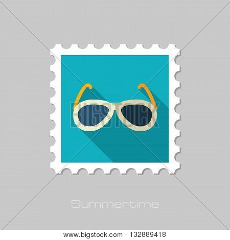 Sunglasses vector flat stamp with long shadow. Beach. Summer. Summertime. Vacation eps 10