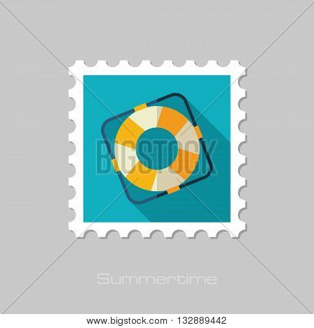 Lifebuoy vector flat stamp with long shadow. Beach. Summer. Marine. Summertime. Vacation eps 10