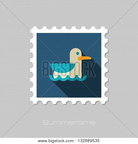 Seagull vector flat stamp with long shadow. Beach. Summer. Summertime. Vacation eps 10
