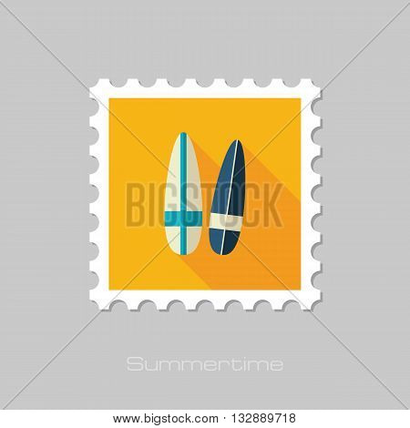 Surfboard vector flat stamp with long shadow. Beach. Summer. Summertime. Vacation eps 10