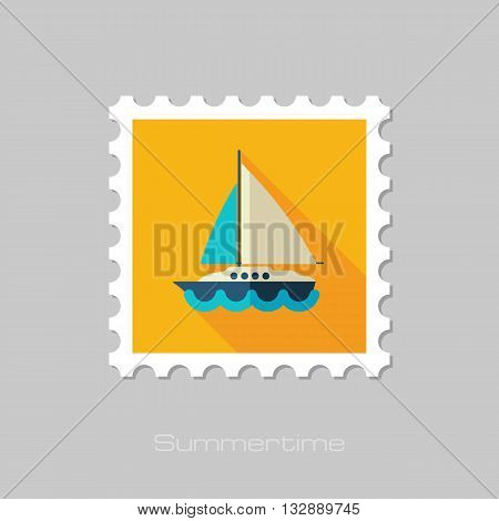 Boat with a Sail vector flat stamp with long shadow. Beach. Summer. Summertime. Vacation eps 10