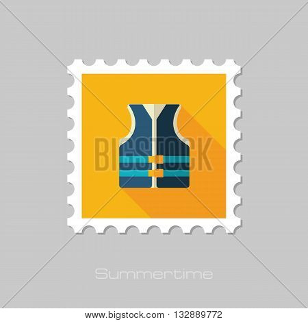 Life jacket vector flat stamp with long shadow. Beach. Summer. Summertime. Vacation eps 10