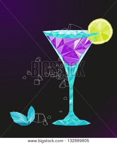 low poly vector martini cocktail with lemon, ice and mint leaves