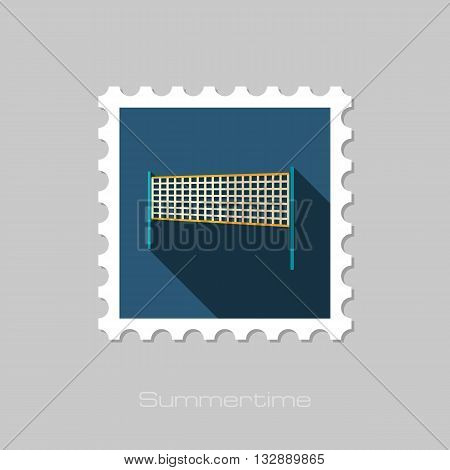 Volleyball net beach sport vector flat stamp with long shadow. Beach. Summer. Summertime. Vacation eps 10