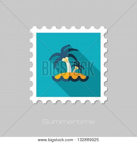 Island with palm trees vector flat stamp with long shadow. Beach. Summer. Summertime. Vacation eps 10