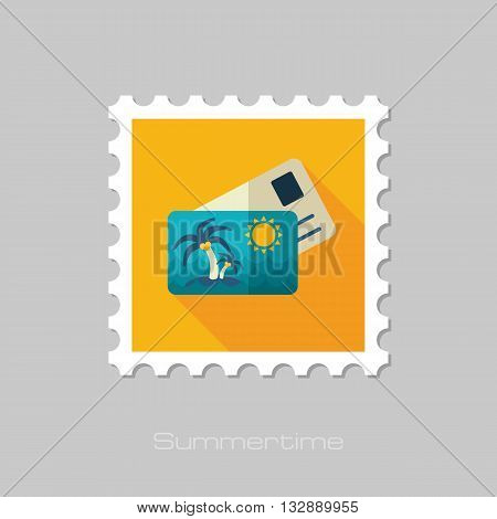 Card with palm vector flat stamp with long shadow. Beach. Summer. Summertime. Vacation eps 10
