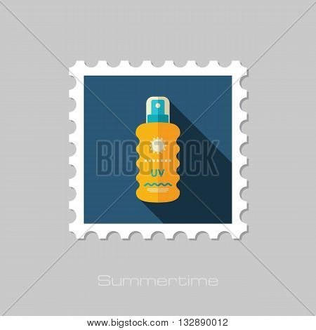 Sun Cream in Spray vector flat stamp with long shadow. Beach. Summer. Summertime. Vacation eps 10