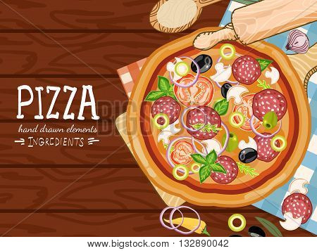 Pizza on a wooden table making pizza fresh ingredients for pizza hand drawn vector illustration