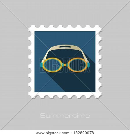 Swimming Goggles vector flat stamp with long shadow. Beach. Summer. Summertime. Vacation eps 10