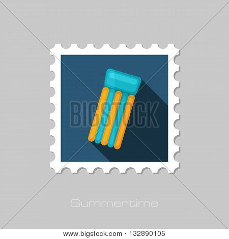Floating mattress on beach vector flat stamp with long shadow. Beach. Summer. Summertime. Vacation eps 10