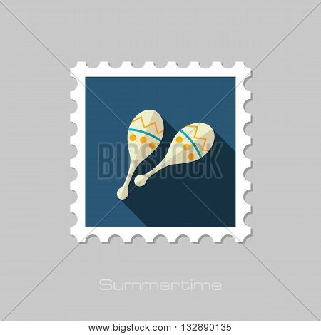 Maracas vector flat stamp with long shadow. Beach. Summer. Summertime. Vacation eps 10