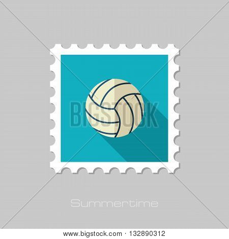 Volleyball vector flat stamp with long shadow. Beach. Summer. Summertime. Vacation eps 10