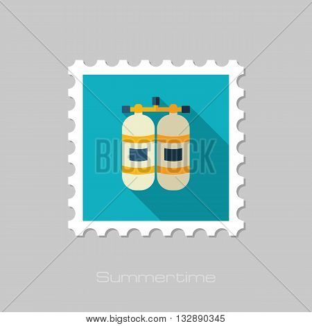 Oxygen tank vector flat stamp with long shadow. Beach. Summer. Summertime. Vacation eps 10