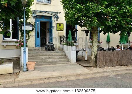 La Roche Guyon France - august 13 2015 : the picturesque village in summer