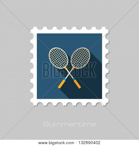 Badminton Racket vector flat stamp with long shadow. Beach. Summer. Summertime. Vacation eps 10
