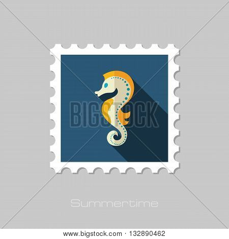 Sea Horse vector flat stamp with long shadow. Beach. Summer. Summertime. Vacation eps 10