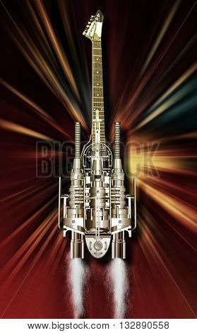 A heavy metal guitar flying over Flames 3D illustration