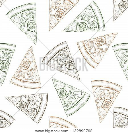 Seamless pattern pizza with bacon sketch. Vector illustration, EPS 10