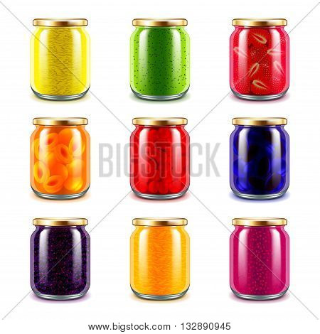 Jam jars icons detailed photo realistic vector set