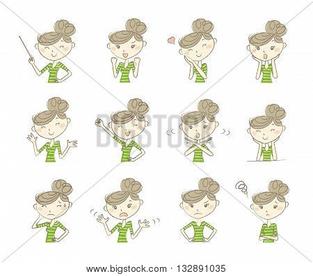 Set of poses and emotions women wearing casual clothes