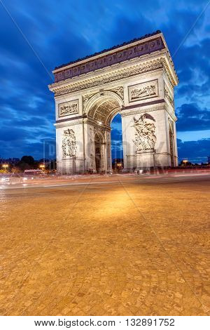 The Arc de Triomphe in Paris at night