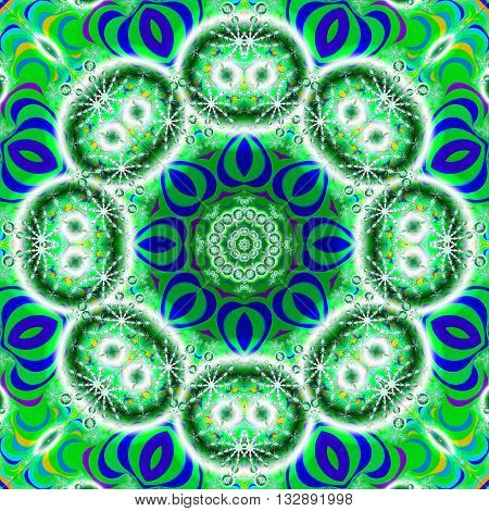 Kaleidoscope fractal in vibrant green and blue colors