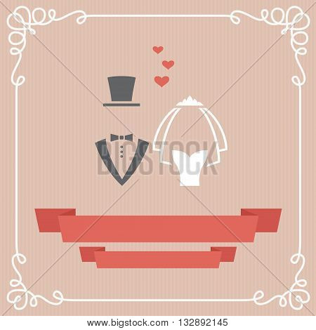 Wedding invitation card with bride and groom icon