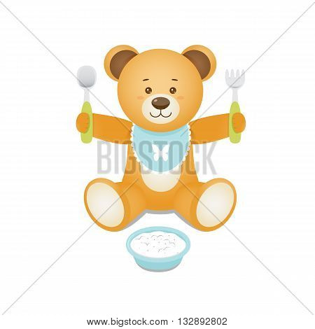 Funny teddy bear holding fork and spoon in hands. Design for prints of baby goods backgrounds. Isolated on white background.Vector illustration.
