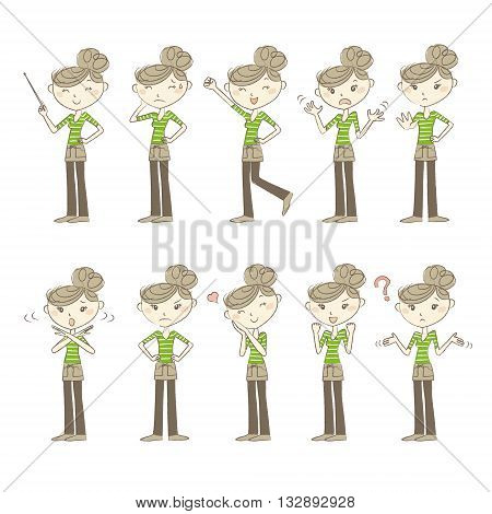 Set of poses and emotions women wearing casual clothes and an apron