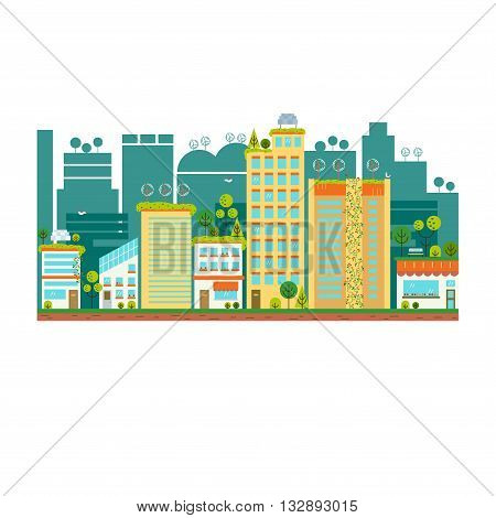 Flat design vector illustration with ecology city. Green city concept with eco icons. Green energy - green house, wind turbines, solar panels.