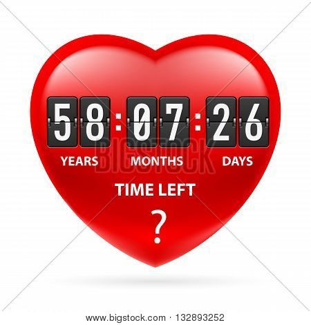 Red heart with a countdown. Illustration on white
