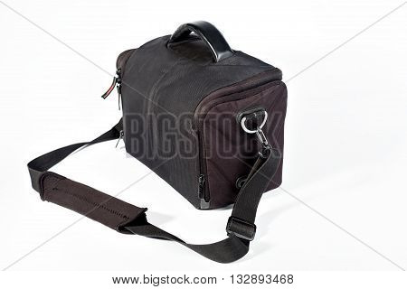 The rectangular black bag for the camera on a white background.