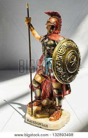 statue of an ancient Macedonian soldier isolated