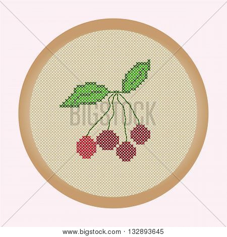 Embroidery cherries. Vector illustration: the cherries which is cross stitched in a round frame