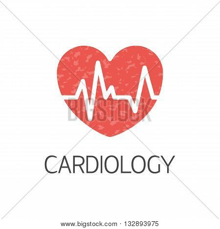 Flat style logotype template with heart emblems. Isolated on background. Logo for your business. Medicine concept.