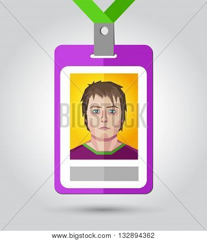 Vector illustration of a name badge for event with a human face in polygonal style.