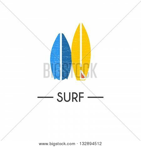 Flat style logotype template with surfboard emblems. Isolated on background. Logo for your business. Isolated on background.