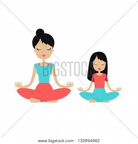 Young woman meditating with her child. Mother and daughter doing yoga together in lotus position. Kids yoga. Family yoga. Isolated on white background.