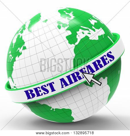 Best Airfares Represents Selling Price And Aircraft 3D Rendering