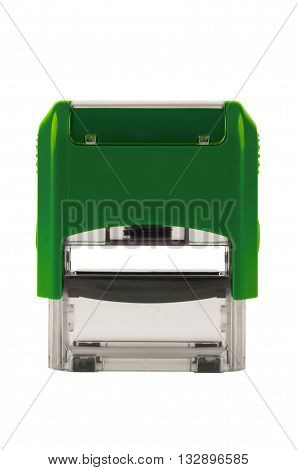 Hand rectangular automatic stamp a brilliant green color. Isolated on white background.