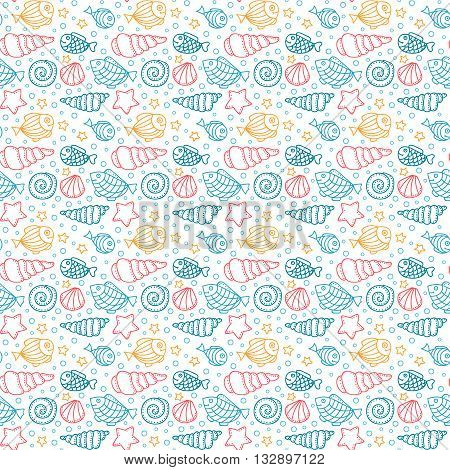 Vector seamless pattern with fish star shell and bubble. Hand drawn doodle sea elements. Color objects on white background.