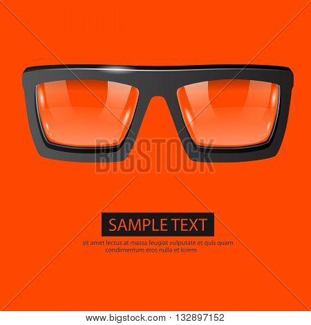 Clean vector glasses on orange background. Fashion concept
