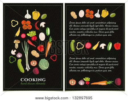 Cookbook template hand drawn Cookbook  elements set