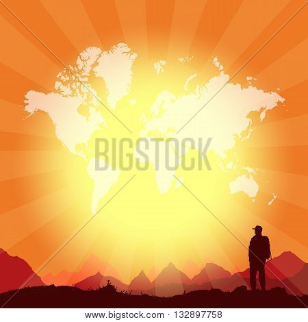Travel and adventure world tour vector template