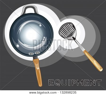 Pan and Spade of frying pan equipment graphic illustration