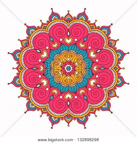 Vector hand drawn doodle mandala with hearts. Ethnic mandala with colorful ornament. Isolated. Pink white yellow blue colors.